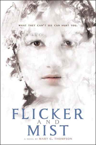 Flicker and Mist book cover image. Girl enveloped in mist.